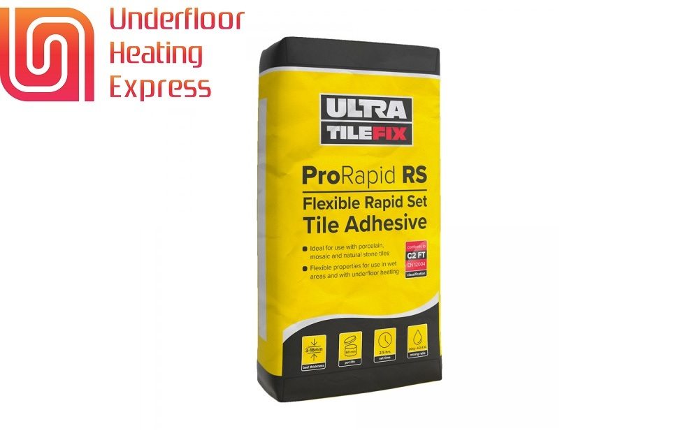 Underfloor Heating Tile Adhesive Self Leveling Compound Compatible Primer London UK Water Hydronic Electric Heating Mats Electrical UFH Systems Tilefix