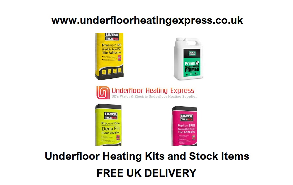 Underfloor Heating Tile Adhesive Self Leveling Compound Compatible Primer London UK Water Hydronic Electric Heating Mats UFH Systems